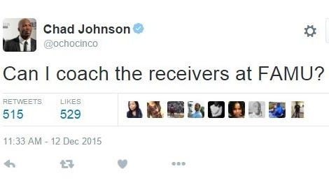Chad Johnson tweeted about coaching receivers at Florida A&M.