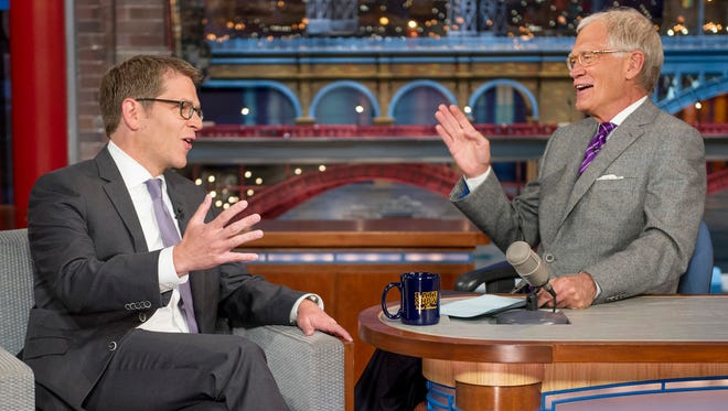 Jay Carney and David Letterman