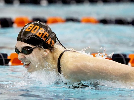 Northeastern's Niki Price shown during her 2013 PIAA championship 100 butterfly.