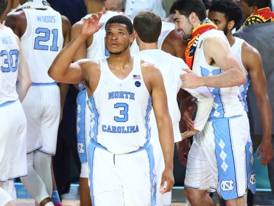North Carolina Tar Heels forward Kennedy Meeks (3) reacts at the end of the game against the Gonzaga Bulldogs in the championship game of the 2017 NCAA Men's Final Four at University of Phoenix Stadium.