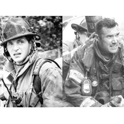 York firefighters Ivan Flanscha, left, and Zachary