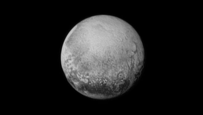 New Horizons' last look at Pluto's Charon-facing hemisphere reveals intriguing geologic details that are of keen interest to mission scientists. This image, taken early the morning of July 11, 2015, shows newly-resolved linear features above the equatorial region that intersect, suggestive of polygonal shapes. This image was captured when the spacecraft was 2.5 million miles (4 million kilometers) from Pluto.