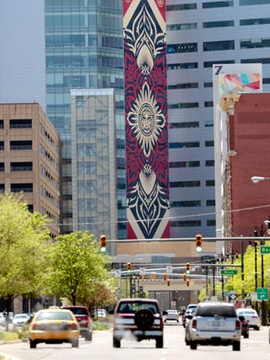 This is a view of the new Shepard Fairey mural on the