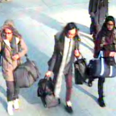A still image grab of the three girls taken from surveillance footage issued by the Metropolitan Police in London on Monday Feb. 23.