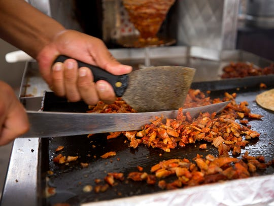 Irving Felix, chops port for street tacos at Los Poblanos