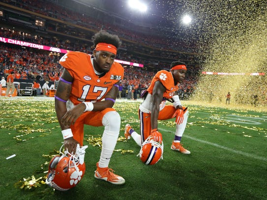 Clemson Tigers safety Jefferie Gibson (17) and Jadar