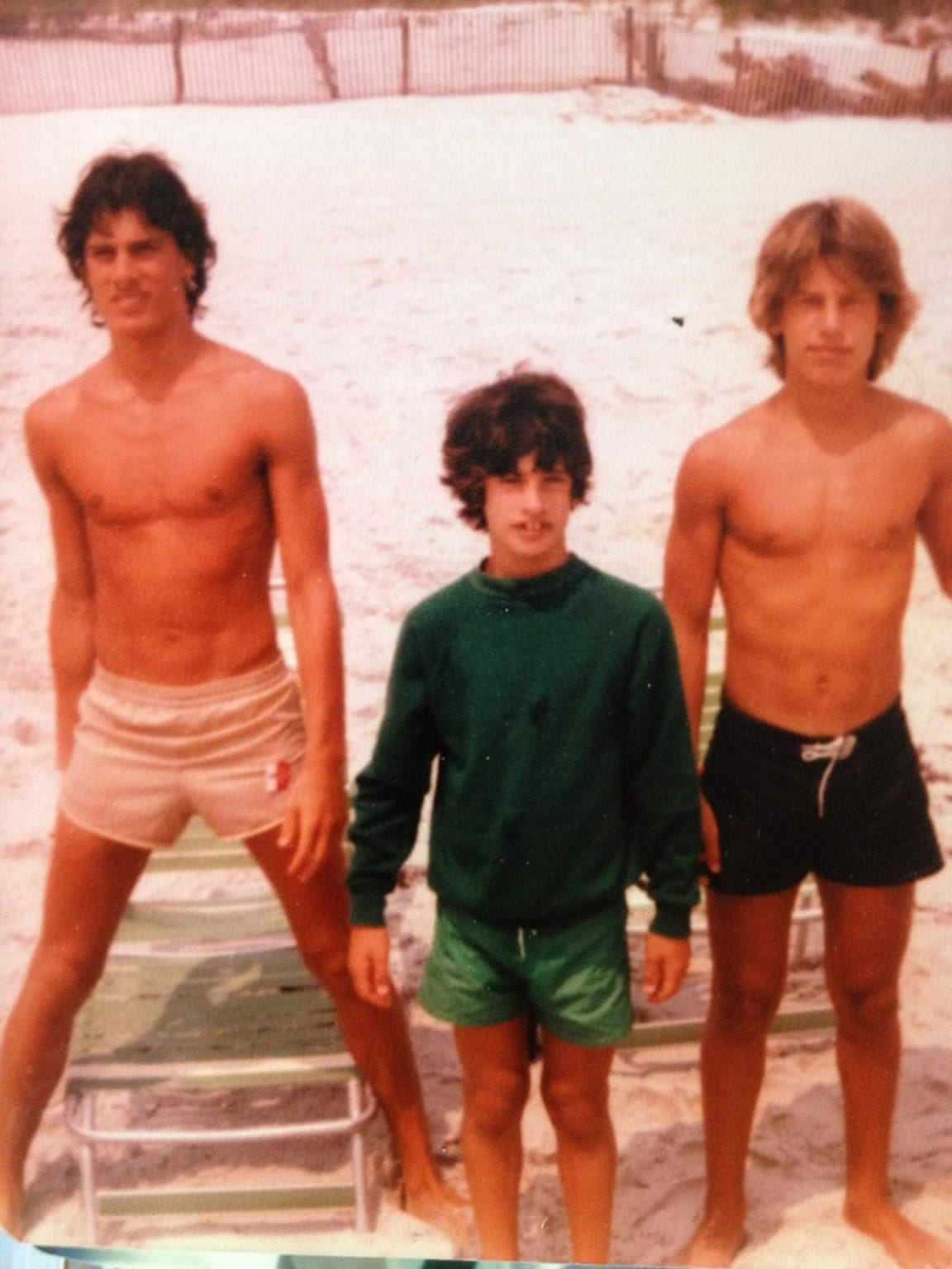 With his brothers, Kevin and Rick, in New Jersey.