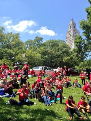 Common Core opponents from across the state gather near the Louisiana State Capitol on Wednesday to protest the educational standards for math and English.