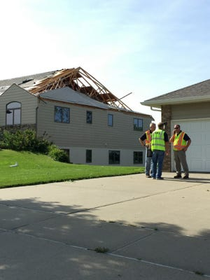 The roof was ripped off Ron and Debbie Wirtjes' house in Garretson.