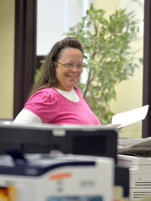 Rowan County, Ky., clerk Kim Davis smiling on Aug. 18, 2015.