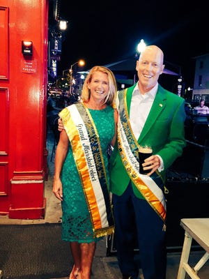 John Hyland and his wife, Kristin, celebrate his appointment as grand marshal of the Morristown St. Patrick's Day Parade.