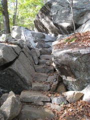 Stone steps were built as part of the Appalachian Trail