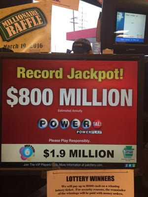 A sign at Rutter's shows the new jackpot amount Friday.