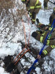 Members of Warren Township fire departments rescued a golden Labrador retriever named Bailey from a storm drain in East County Park.
