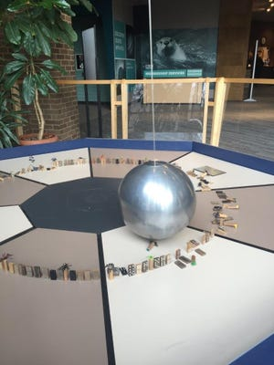 The Foucault pendulum at the Cleveland Museum of Natural History was damaged by five students from Mansfield Senior High School.