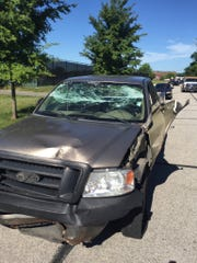 The truck's front end received severe damage.