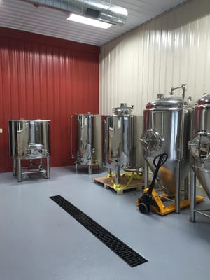 The brewing room, still under construction, at Great Valley Farm Brewery in Natural Bridge.