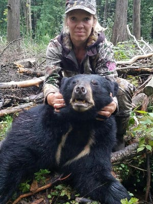 Lisa Dennis shot her bear on Sept 7 in Shawano County. It was the first kill tag/first day of the hunt.