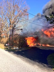 Crews responded to a shed fire in Dover Tuesday afternoon.