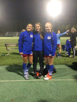 Siegel's Ashley Lawson, right, played in the All-American High School Soccer Game on Saturday along with Ravenwood's Karlie Pascall, left, and BGA's Wrenn French.