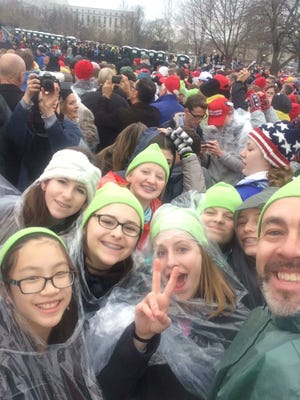 Harrisburg students watch President Donald Trump's inauguration on Friday, Jan. 20, 2017.