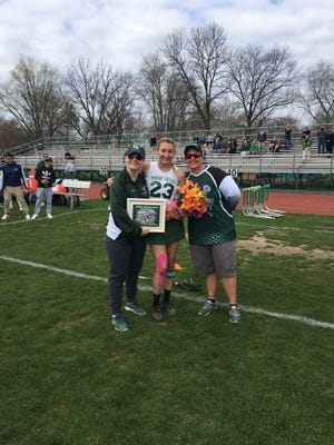 Jenn Sabbak became the first player in Passaic Valley history to score 100 goals in girls lacrosse.