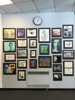 Student art is displayed at Glenfield Middle School during last year's arts festival.