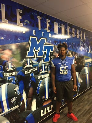 Jahlil Ryles, an offensive lineman from Phenix City, Ala., visited MTSU on July 15 before committing to the Blue Raiders on Tuesday.