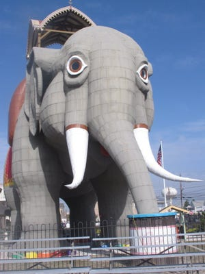 Lucy the Elephant, a 65-foot-tall tourist attraction in Margate, N.J. has been staring out at the Atlantic Ocean since 1881.