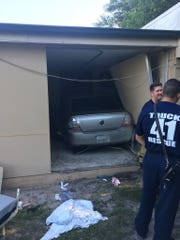 Twp people were injured when a car ran into a building on Alma Boulevard in Merritt Island Aug. 22, 2017.