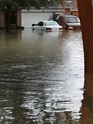 The view outside the home of Keith Frederick, Florida State University alum, who had to be rescued from the flooding Houston-area house due to Hurricane Harvey.