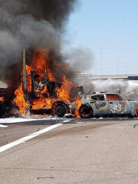 I-10 crash and fire