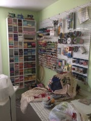 A crafts room where Kim Duke works on her sewing projects