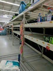 Demand is high at the Walmart in Titusville. The store, however, will continue to receive shipments. This photo was taken at 11:45 Wednesday.