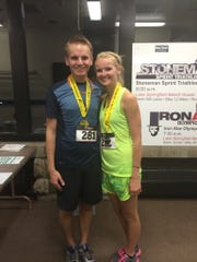 Wade Snowden began running with his best running friend, Kristen Brown. This photo is from was in 2014 when they completed the half marathon at the Moonlight Marathon in Springfield, Ill. She remains a source of support for him as he pushes toward a full marathon.