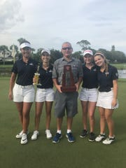 From left, The Pine School's Jue Wen, Andie Smith, coach Eric Fineberg, Caroline Patterson and Kate Faulkner.
