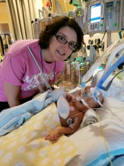 Jenn Zillins with her son Frank, at CS Mott Children's