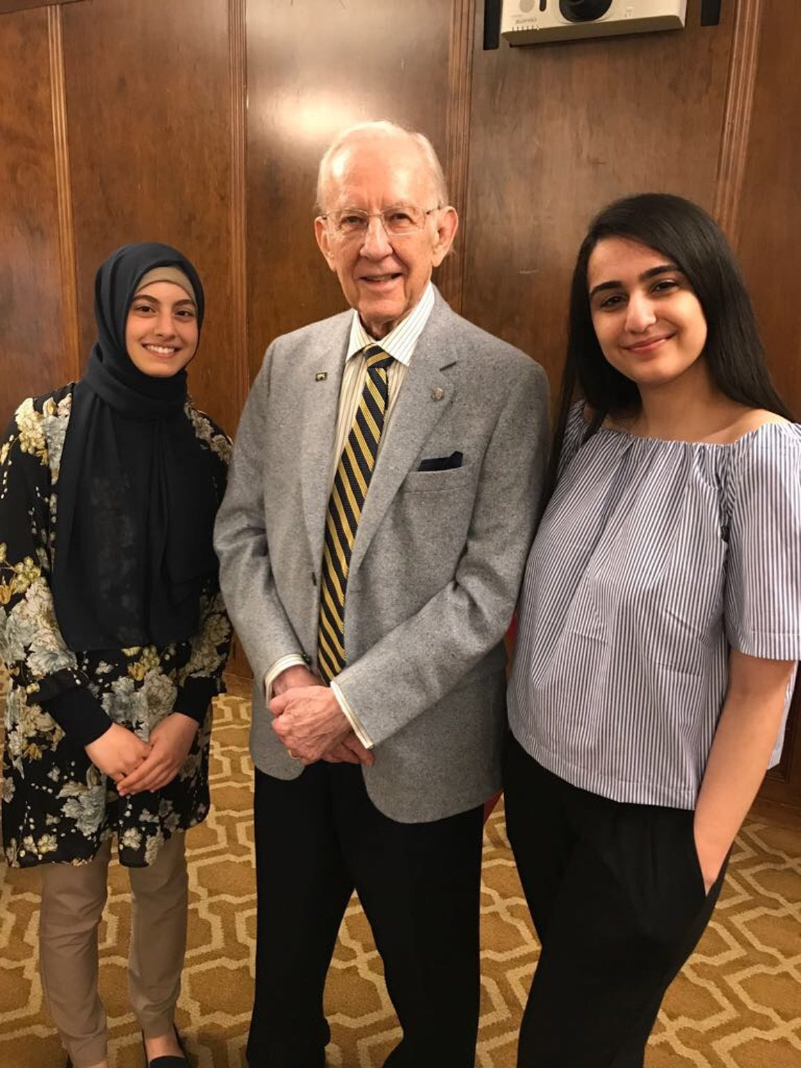 Zahra Makki, far right, with her friend Nada Jaradat and University of Michigan donor William Brehm. Brehm endowed the Brehm Scholars Program, which covers tuition costs at U-M. Both Makki and Jaradat received the scholarship.