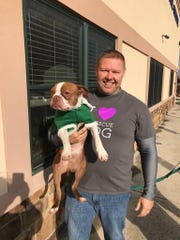 Sen. Rich Alloway is pictured with Libre at Cumberland Valley Animal Shelter on Saturday, Dec. 15, 2017. Libre is a Boston terrier that was found neglected and near death in the summer of 2015 in Lancaster. He inspired an animal abuse law that was enacted this summer in Pennsylvania.