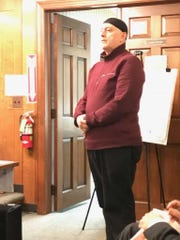 Imam Moutaz Charaf testifies at a Midland Park Planning
