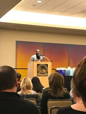 Darnell L. Moore address attendees of UW-Oshkosh's 23rd annual Martin Luther King Jr. Day event.