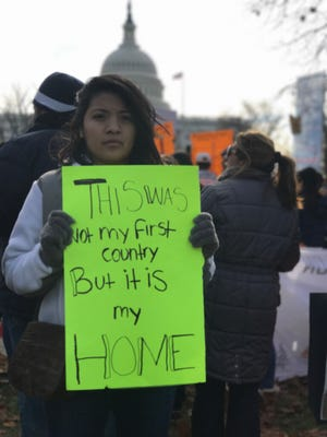"""Cinthia Osorio, of Dover, a DACA recipient, """"Dreamer"""" and Centenary University student who came to the U.S. from Mexico at the age of three, is shown marching on Capitol Hill in December, 2017. Osorio will speak at the Women's March on New Jersey Saturday on behalf of the immigrant rights organization, Wind of the Spirit."""