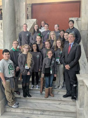 Sen. Dorsey Ridley, D-Henderson, meets with a 4-H group from Henderson and Webster Counties in the Capitol prior to convening for day 19 of the 2018 Legislative Session. Sen. Ridley represents Senate District 4, which includes Caldwell, Crittenden, Henderson, Livingston, Union, and Webster Counties. He spoke briefly to the group about the legislative process while on their visit.