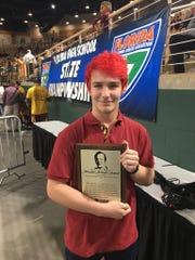 Florida High senior Bryan Metcalf was awarded the FHSAA