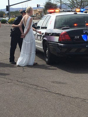 Police say 32-year-old Amber Young said she was on her way to her wedding when she was arrested on suspicion of DUI on March 12, 2018. An attorney for Young disputes that, saying she was on her way to lunch with a friend.
