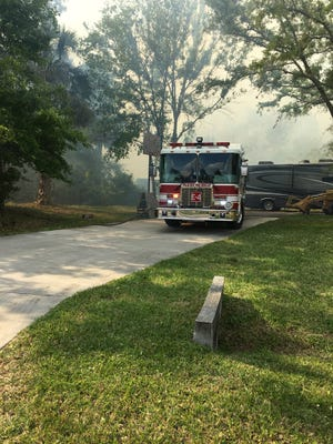 Firefighters responded to a brush fire in Palm Bay Wednesday.
