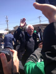 Bernie Sanders, former candidate for the Democratic nomination in the 2016 presidential election, joins labor advocates for their I Am 2018 march in Memphis on April 4, 2018.