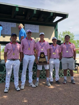 Garden City's boys golf team poses with its regional championship trophy Tuesday, April 24, 2018.