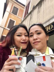 Reynne Ramirez and her mom, Cheryl White snap a photo before eating sweet treats during their Euro vacation.