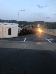 A tractor-trailer overturned in a crash on the Gov.